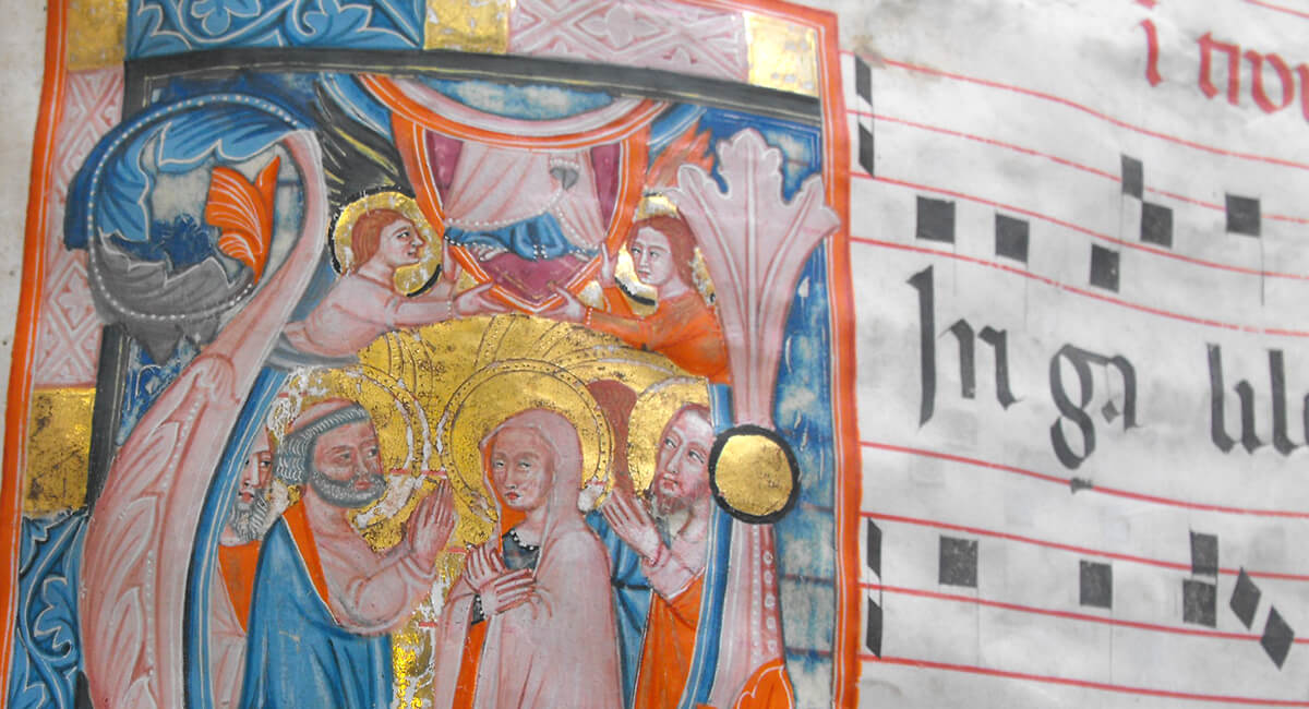 Stefania Zeppieri   Conservazione e Restauro Beni Librari, Archivistici, Opere d'Arte su carta e manufatti Affini   Restauro Antifonario Medievale XV Secolo - santino