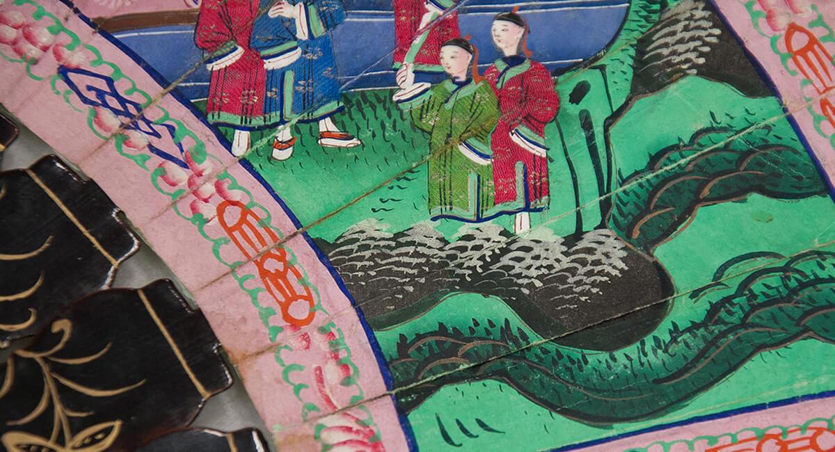 Stefania Zeppieri   Conservazione e Restauro Beni Librari, Archivistici, Opere d'Arte su carta e manufatti affini   Restauro Ventaglio Cinese Centofacce dell'800 - santino