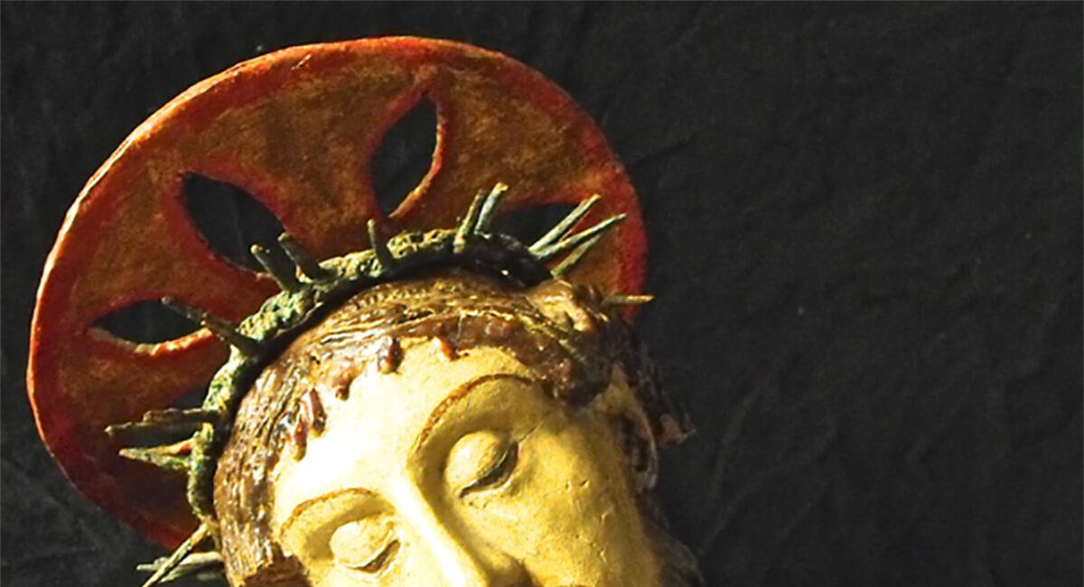 Stefania Zeppieri   Conservazione e Restauro Beni Librari, Archivistici, Opere d'Arte su carta e manufatti affini   Restauro Aureola carta Crocifisso XV secolo - santino
